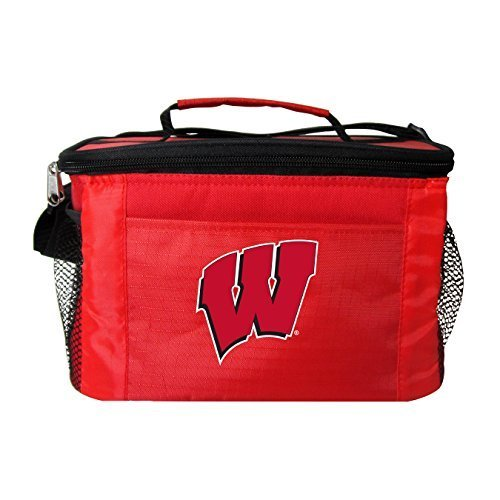 New NCAA College 2014 Team Color Logo 6 Pack Lunch Tote Bag Cooler - Pick Team (Wisconsin ()