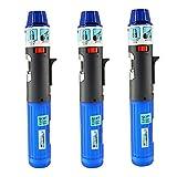 3 Pack Turbo Blue Torch Stick Multi Purpose Refillable Butane Lighter