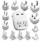 Ceptics World Travel 13 Adapter Kit - 2 USB + 2 US Outlets, Surge Protection, Plug for Europe, UK, China, Australia, Japan - Perfect for Laptop, Cell Phones (Does Not Convert Voltage)
