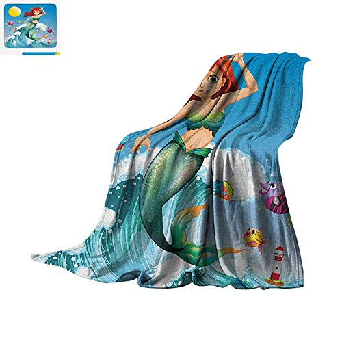 Mermaid Warm Microfiber All Season Blanket Illustration of Cute Little Mermaid on top of a Big Wave in The Surf with Fish Kids Summer Quilt Comforter 60