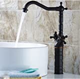 Taller Countertop Dual Handles Bathroom Basin Faucet Oil Rubbed Bronze Sink Vessel Mixer Tap by Rozinsanitary