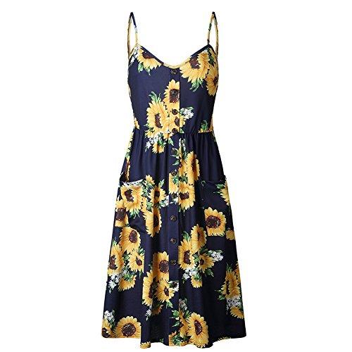 Long Spaghetti Down Sleeveless Knee Sundresses Dress Summer Dark Dress Button Boho chrysanthemum Length Midi CHICFOR Blue Floral Strap Womens Swing 5twtOX