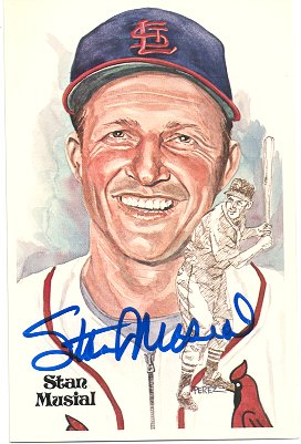 - Autographed Stan Musial Perez-Steele Post Card