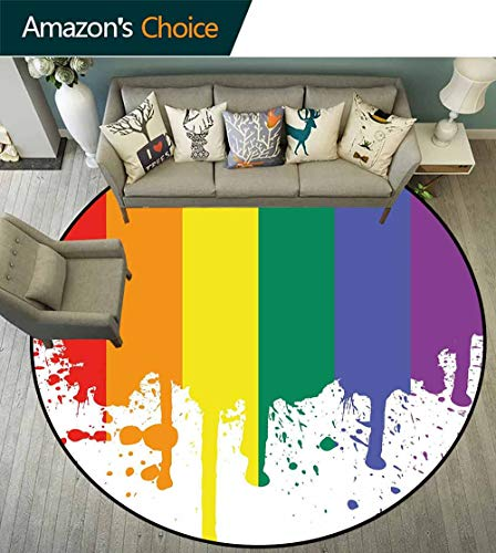 - Rainbow Round Rug Colorful,Rainbow Flag Pattern Support Pride Lifestyle Freedom Love Color Splashes Print for Hallway,Multicolor,D-43
