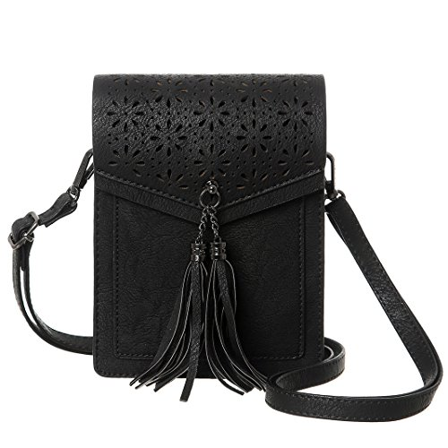 MINICAT Tassel Thicher Pocket Small Fringe Crossbody Bags Cell Phone Purse Wallet For Women With Credit Card - Fringed Black Handbag