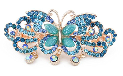 Yeshan Rhinestone Decor Alloy Butterfly Design French Hair Clip Barrette for Women,Blue