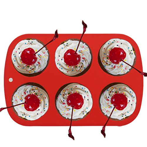 Elbee Home 621 Premium 6 Cupcake Muffin Baking Pan Mold Easy Clean Red by Elbee (Image #4)