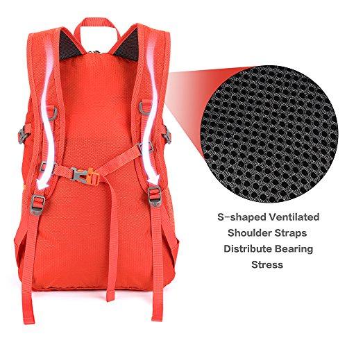 NEEKFOX Lightweight Packable Travel Hiking Backpack Daypack,35L Foldable Camping Backpack,Ultralight Outdoor Sport Backpack (03.Orange) by NEEKFOX (Image #2)