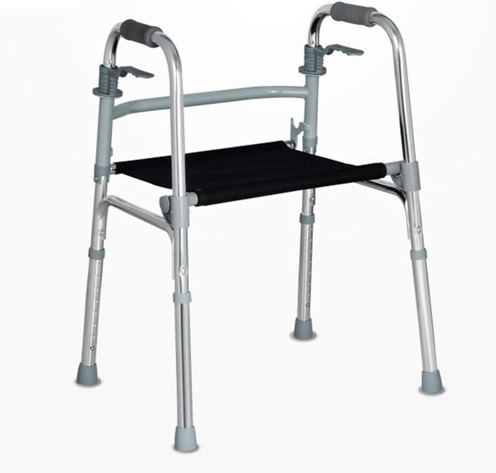 4347555031 Walker Old Man Trolley Equipo Auxiliar for discapacitados Sin barreras Ancianos Walker Silla de Ruedas Plegable Antideslizante Anticaída (Color : Silver, Size : 53 * 45cm)