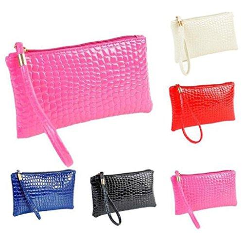 Geldbörse, Rcool Frauen Leder Clutch Handtasche Tasche Geldbörse (Blau)