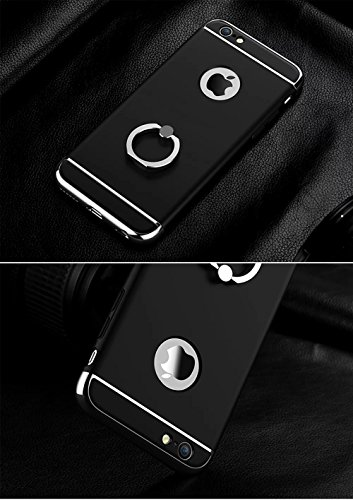 Vandot 1x Accessories Set 0.7mm Ultra Thin fina water Diamond Bling Case Hard PC Cases Case Para iPhone 6 Plus / 6S Plus 5.5pulgadas Funda Case Premium Matt luxury bag Protección Crystal Rhinestone Ca Ringe Holder Negro