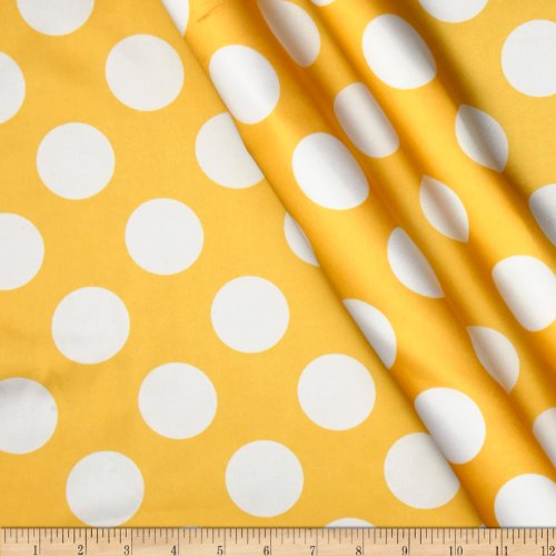 Ben Textiles Charmeuse Satin Large Polka Dots Fabric by The Yard Yellow/White ()