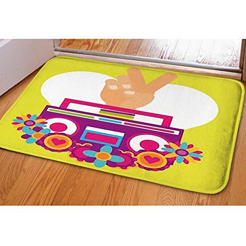 iBathRugs Door Mat Indoor Area Rugs Living Room Carpets Home Decor Rug Bedroom Floor Mats,Stereo Radio Hand pece Love ()