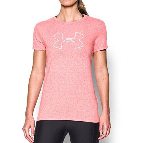 Under Armour Women's Big Logo Short Sleeve T-Shirt,Pomegranate Light He (696)/White, X-Small