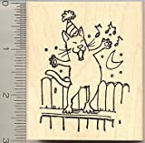 Singing Birthday Cat Rubber Stamp - Wood Mounted