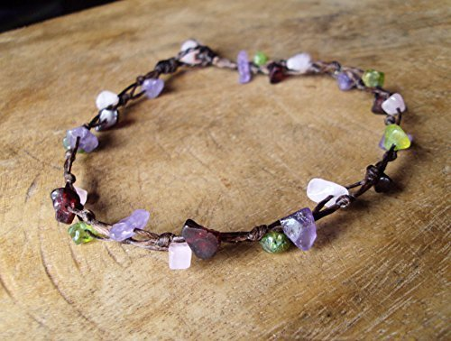 Amethyst anklets,stone anklets,peridot anklets,rose quartz anklets (Amethyst Anklet)
