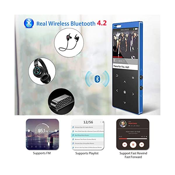 MP3 Player with Bluetooth4.2, 16GB Portable MP3 Player with Speaker Touch Button/1.8TFT Screen Metal Body HiFi Music Player with FM Radio, Voice Recorder, Supports up to 128GB SD Card 4
