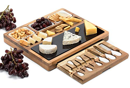 Wood Cheese Set - Shanik Cheese Board With 7 Piece Stainless Steel Cutlery Set - Acacia Wood Charcuterie Board and Cheese Serving Platter With Slide-Out Drawer, 3 Ceramic Bowls, Double Sided Marble Blade, Perfect Gift