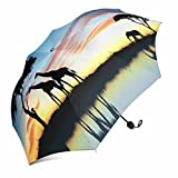 InterestPrint Safari in Africa, Silhouette of Wild Animals Reflection in Water Foldable Portable Outdoor Travel Compact Umbrella (43 Inch)
