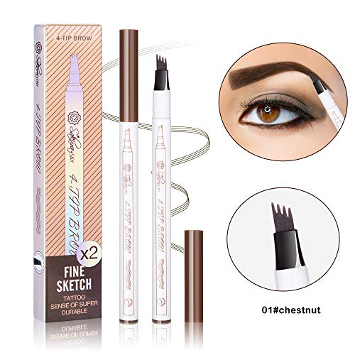 Premium Long lasting Eyebrow Tattoo Pen - 2 Pack of Sakura say Microblading Eyebrow Pencil with a Micro-Fork Tip Applicator Creates Natural Looking Brows Effortlessly and Stays on All Day (Chestnut)