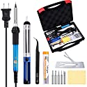 Tabiger Soldering Iron Kit 60W 110V-Adjustable Temperature Welding Soldering Iron with Tool Carry Case