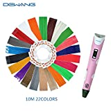 DEWANG 2nd Generation 3d Drawing Printing Printer Pens 0.7mm Head Parts Nozzle LCD Display with Refills 660 G 1.75 mm ABS or PLA Plastic Filament Glow in the Dark 22 Pack,Pink
