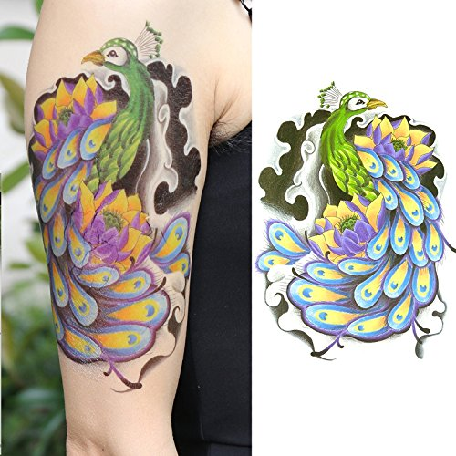 Oottati Old School Peacock Feather Color Arm Temporary Tattoo