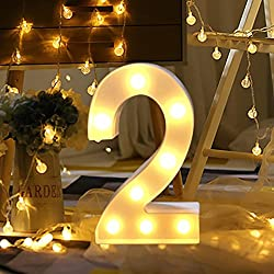 XEDUO 0-9 Numbers LED Light Up White Plastic Digital Standing Hanging for Xmas Wedding Birthday Party Home Decor (C)