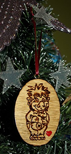 Button Gnome Wooden Christmas Ornament- Hand Wood Burned Ornament