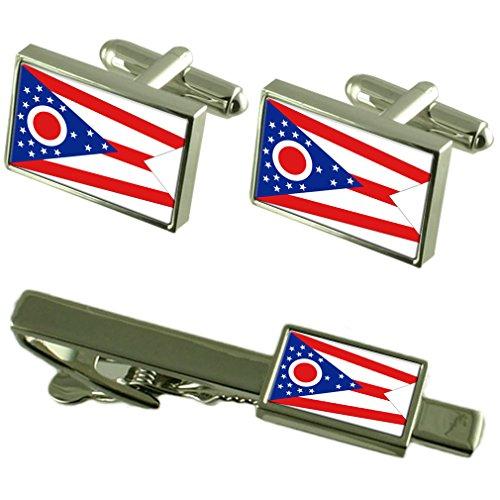 Cravate boutons de manchette Drapeau de l'Ohio un Ensemble cadeau correspondant