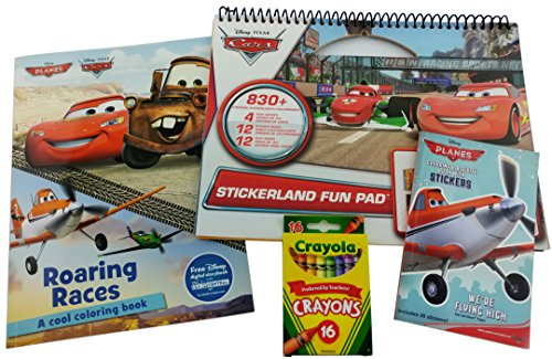 Disney Cars and Planes Bundle - 4 Items: Cars SandyLion Stickerland Fun Pad, Cars/Planes Roaring Races Coloring Book, Planes 6 x 4 Inch Coloring Book with 30 Stickers, and Box (Kindergarten Halloween Coloring Sheets)