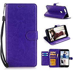 Fashion Simple Creative For ZTE Sequoia Z982/Blade Z MAX/ Zmax Pro 2,Upara Wallet Flip Case Cover With Card Slots And Stand (Purple)