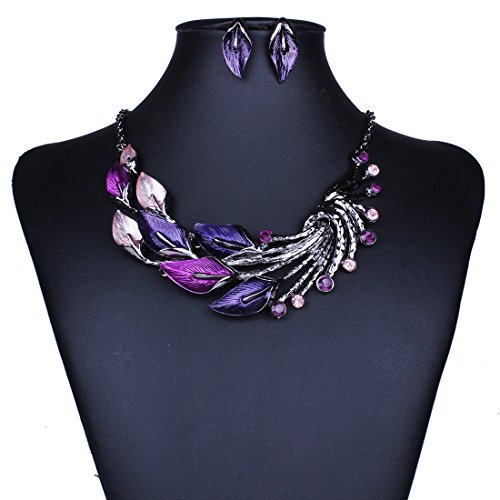 Dardugo Womens Purple Oil Drip Leaf Lariat Rhinestone Bib Fashion Necklace Earrings Jewelry Set
