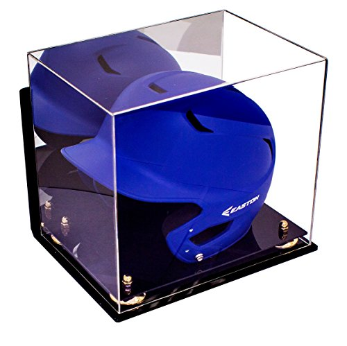 Versatile Deluxe Acrylic Display Case - Medium Rectangle Box with Gold Risers Mirror and Wall Mount 12.25