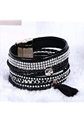 Fashion Leather Wrap Wristband Rhinestone Multilayer Bracelet Bangle