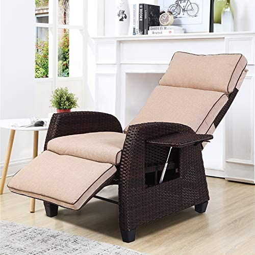 Grand Patio Indoor Outdoor Recliner Chair Adjustable Integrated Side Table