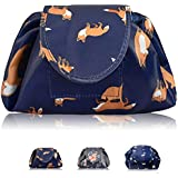 Portable Lazy Drawstring Makeup Bag Travel Cosmetic Bag Pouch Toiletry Organizer Waterproof Large for Women and Girls…