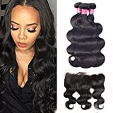 ULOVE HAIR Brazilian Virgin Hair Body Wave 3 Bundles with Frontal Natural Color 100% Unprocessed Human Hair Extensions with 13x4 Frontal Lace Closure (20 22 24+18''Frontal)