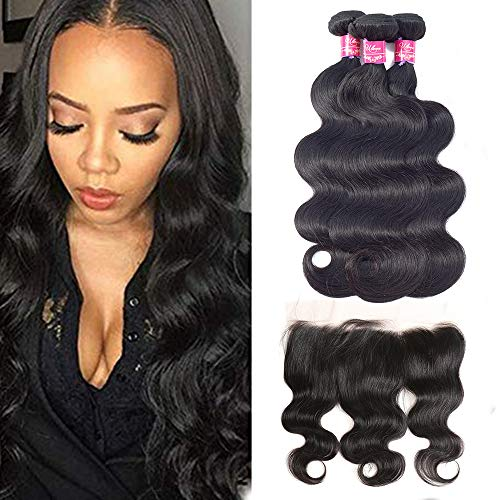 ULOVE HAIR Brazilian Virgin Hair Body Wave 3 Bundles with Frontal Natural Color 100% Unprocessed Human Hair Extensions with 13x4 Frontal Lace Closure (10 12 14+10