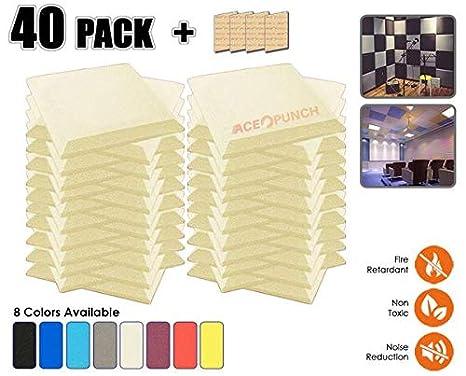 Acepunch 40 Piezas PERLA BLANCA Bisel de Espuma Acústica Panel DIY Estudio Aislamiento Insonorización Azulejos de la Pared Absorción Tratamiento 50 x 50 x 5 ...