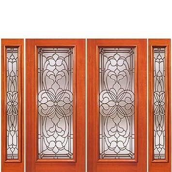 Mahogany Artistic Glass Door H Series-2-2 - AAW Doors Inc.