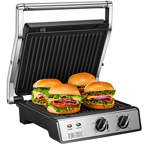 DEIK Panini Press, 6-in-1 Smokeless Indoor Grill with Timer and Temperature Control, 4 Non-Stick Removable Plates, Opens 180 Degrees for Panini, Grilled Meat, Steaks
