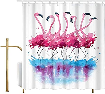 Amazon.com: Ao Blare Flamingo Shower Curtain, Watercolor Pink Flamingo  Polyester Fabric Bathroom Curtain Decor Set With Hooks,72 X 72 Inches: Home  U0026 Kitchen