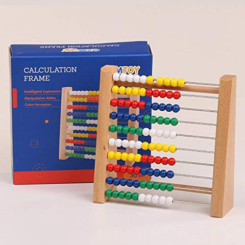 - Wooden Abacus Baby Math Toys Rainbow Bead Classic Calculation Frame Monterssori