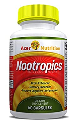 Acer Nutrition - Memory Booster, Smart Nootropic Enhanced Mental Clarity & Thinking Lower Stress Mood-swings Attitude & Emotion. Gmp Fda Pharma. 1 Mth Supply, 60ct