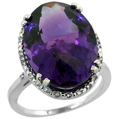10k White Gold Diamond Halo Genuine Amethyst Ring Large Oval 18x13mm size 7 Large Oval Amethyst Ring