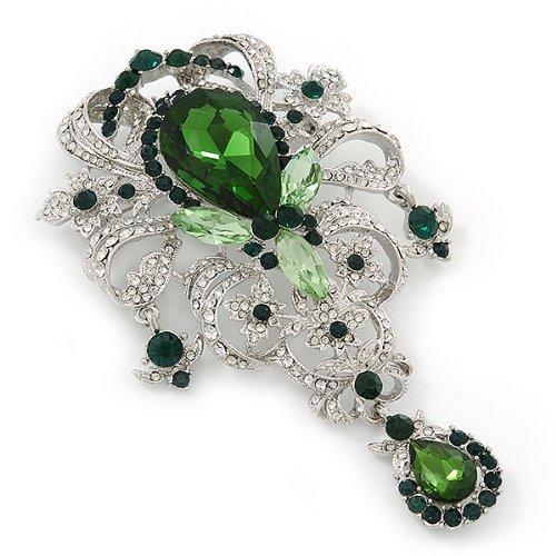 Avalaya Statement Emerald Green/Clear CZ Crystal Charm Brooch In Rhodium Plating - 11cm Length hqXGOd0KFH