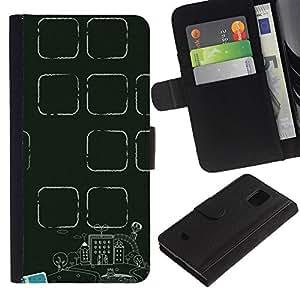 For Samsung Galaxy S5 Mini / Galaxy S5 Mini Duos / SM-G800 !!!NOT S5 REGULAR! ,S-type® Teacher Classroom School Green - Dibujo PU billetera de cuero Funda Case Caso de la piel de la bolsa protectora