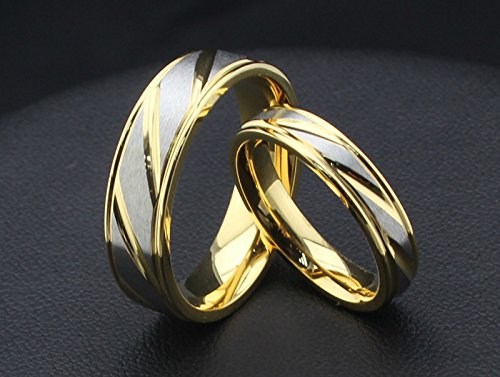 Titanium Steel Couple Rings Gold Minimalist Style Engagement Rings