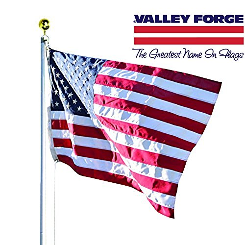 Valley Forge, American Flag Kit, Polyester Duratex, 3' x 5', 100% Made in USA, Commercial Grade Flag, 20-Foot Aluminum In-Ground Pole and Hardware